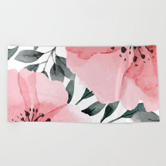 Big Watercolor Flowers Beach Towel