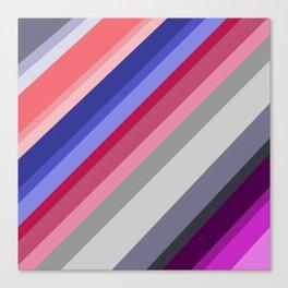 grey blue pink purple stripes Canvas Print