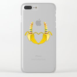 Gay Pride Banana Heart Clear iPhone Case