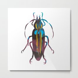 Christmas Beetle Neon Metal Print