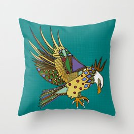 jewel eagle turquoise Throw Pillow