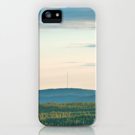 Pink Skies, Blue Hills and Golden Trees iPhone Case