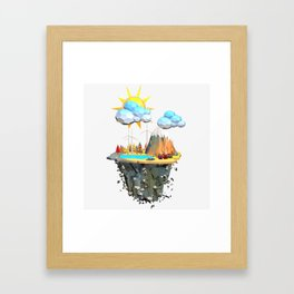 Floating Island Low Poly Style.3D Rendering Framed Art Print