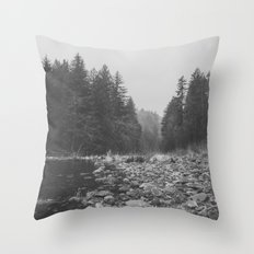 Mountain Forest Lake Water - Black and White Vintage Trees and Sky Throw Pillow