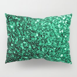 Beautiful Emerald Green glitter sparkles Pillow Sham