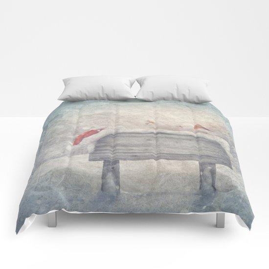 Winter wonderland birds  Comforters