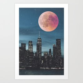 New York City Blood Moon Skyline Art Print