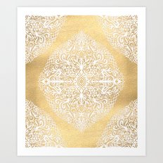 White Gouache Doodle on Gold Paint Art Print