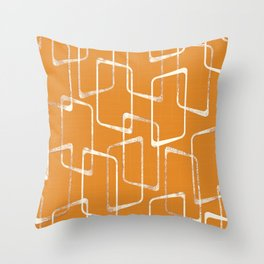 Retro Orange Lino Print Geometric Pattern Throw Pillow