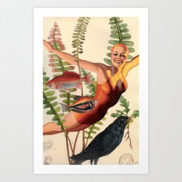 Diver in Fern with Crow Art Print