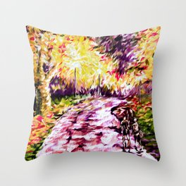 A Walk in the Rain at Night Throw Pillow