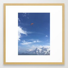 Paragliding Over the Alps Framed Art Print