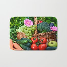 Vegetable composition in the summer garden Bath Mat