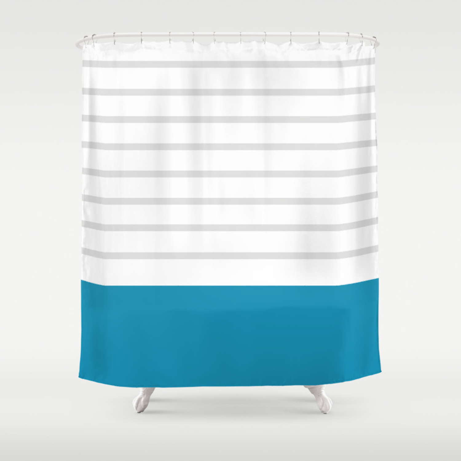 Blue Grey Lines Stripes Shower Curtain