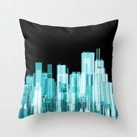 hologram Throw Pillows featuring Hologram city panorama by GrandeDuc