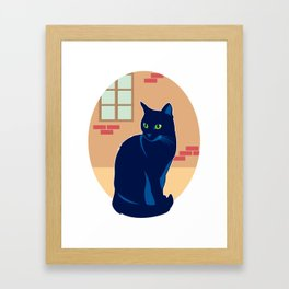 Black cat on the street Framed Art Print
