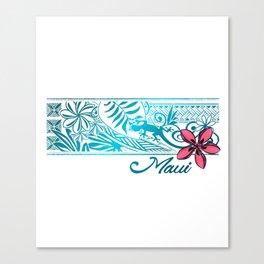 Maui Hawaii Plumeria Gecko Banner Canvas Print