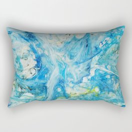 Turquoise Watercolor Art Rectangular Pillow