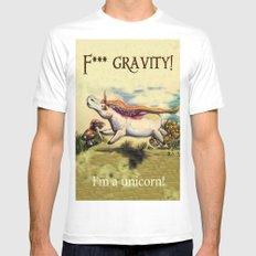 F*** gravitiy! I'm a unicorn! MEDIUM White Mens Fitted Tee