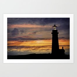 Newport Oregon - Setting Sun Art Print