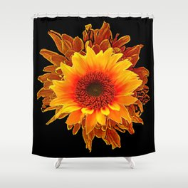 Decor Black & Brown Golden Sunflower Art Shower Curtain