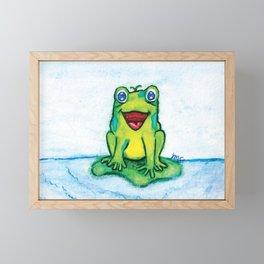 Happy Frog - Watercolor Framed Mini Art Print