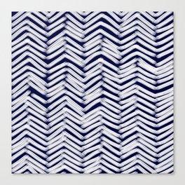 Indigo Herringbone Brush Strokes Canvas Print