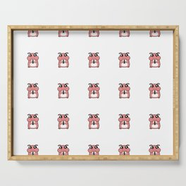 Cute Duotone Hamster Pattern Illustration Serving Tray