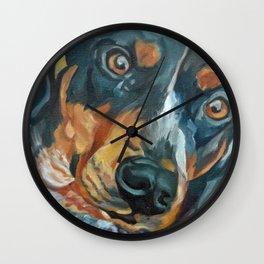 Sassy Girl Banjo Dog Portrait Wall Clock
