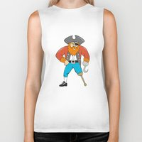 captain hook Biker Tanks featuring Captain Hook Pirate Wooden Leg Cartoon by patrimonio