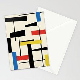Bauhangular III - Bauhaus Style Minimalist Modern Abstract - Red Blue Yellow Black Stationery Cards