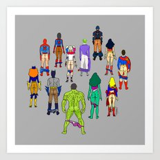 Superhero Power Couple Butts - Grey Art Print