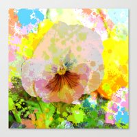 water colour Canvas Prints featuring Artistic Water colour Pansy by thea walstra