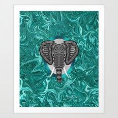 Aztec Elephant Tusk's of Grandeur Art Print