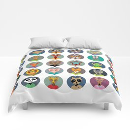 Set of animals faces circle icons set in Trendy Flat Style. zoo Comforters