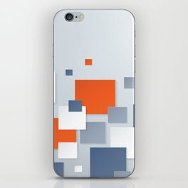 BLUE, WHITE AND ORANGE SQUARES ON A PALE BLUE BACKGROUND Abstract Art iPhone Skin