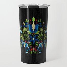 folk flowers dark Travel Mug