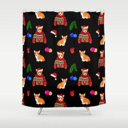 Christmas corgi puppy art Shower Curtain