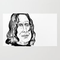 snape Area & Throw Rugs featuring Alan Rickman by minniemorrisart