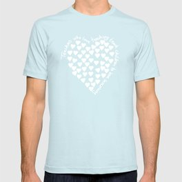 Hearts Heart Teacher White on Black T-shirt