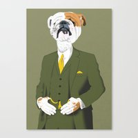 english bulldog Canvas Prints featuring English Bulldog by drawgood