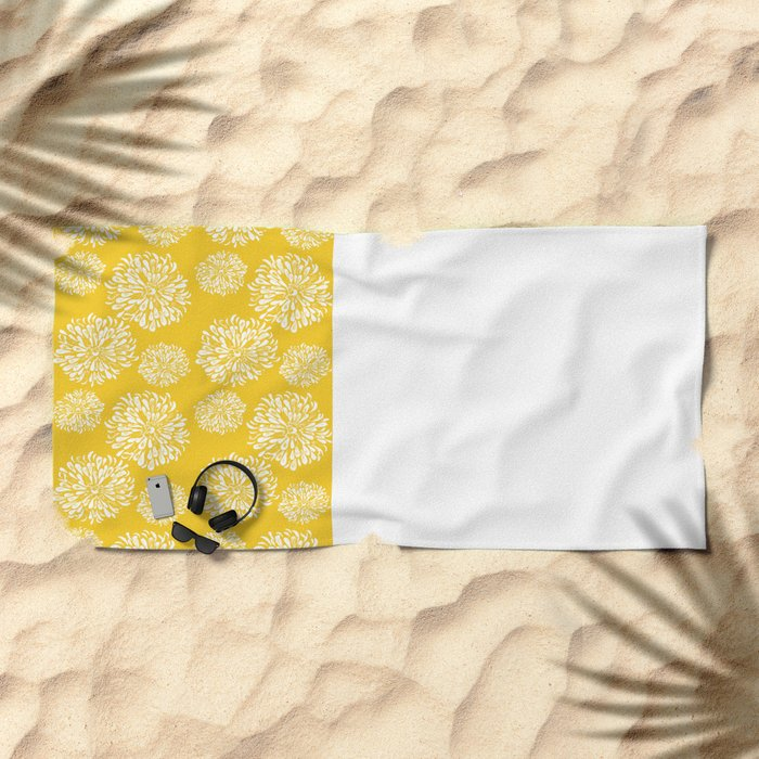 Yellow Zinnias Beach Towel