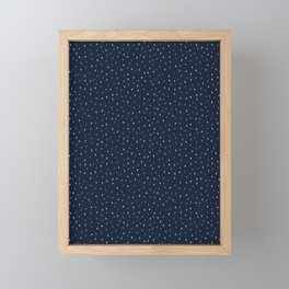 Indigo blue graphic ditsy polka dots seamless pattern. Framed Mini Art Print