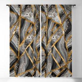 Black Night Agate Gold Geometric Glam #3 #geo #decor #art #society6 Blackout Curtain