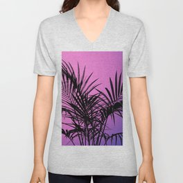 Palm tree in black with purplish gradient Unisex V-Neck