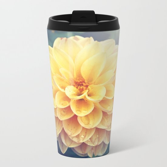 Pretty Yellow Dahlia Metal Travel Mug