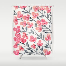 Cherry Blossoms – Pink & Black Palette Shower Curtain