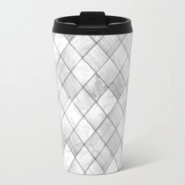 Faux Patchwork Quilting - White & Silver Pattern Travel Mug