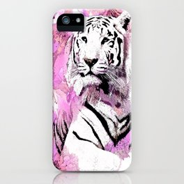 TIGER WHITE WITH CHERRY BLOSSOMS PINK iPhone Case