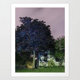 Night Tree Glowing Blue Art Print